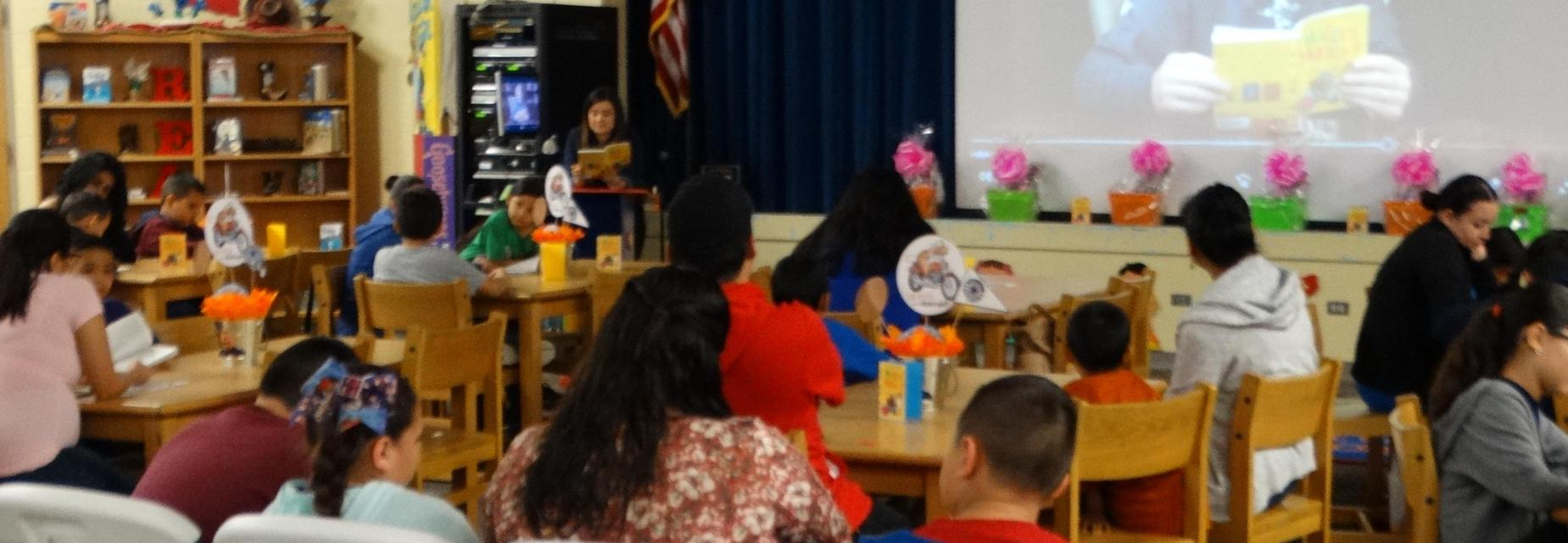 Parents and students during Texas Reads One Book