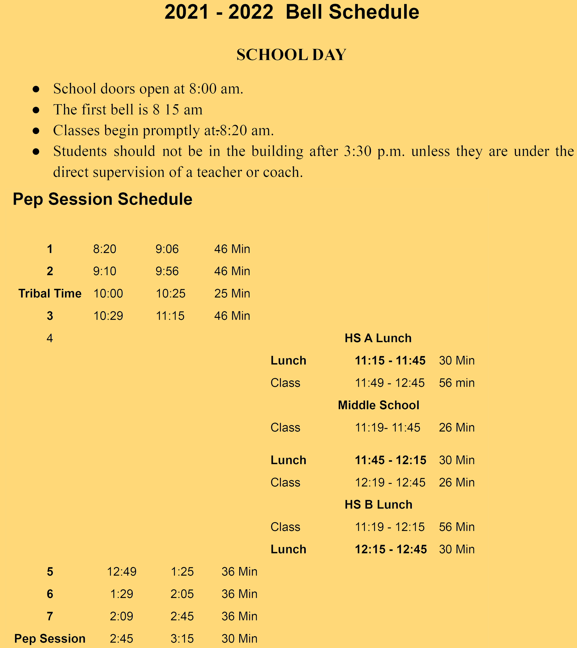 UCJSHS Pep Session Bell Schedule