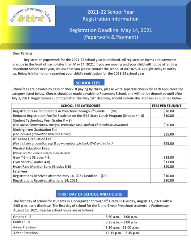 2021-2022 Registration Information