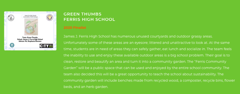 Green Thumbs Ferris 2020 Finalist-Sustainability Challenge