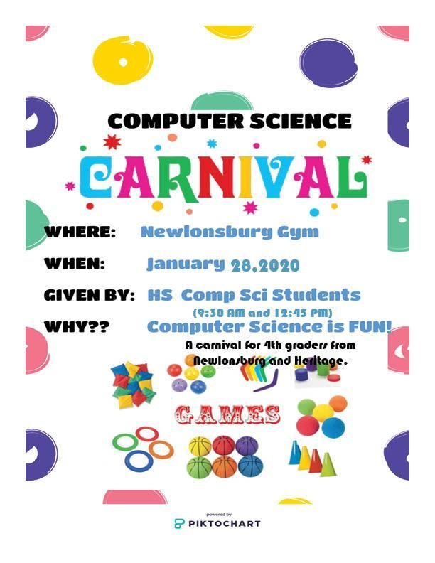 Computer Science Carnival for 4th grade students on January 28, 2020 with sessions starting at 9:10 AM and 12:45 PM for 4th graders attending Newlonsburg and Heritage Elementary Schools.