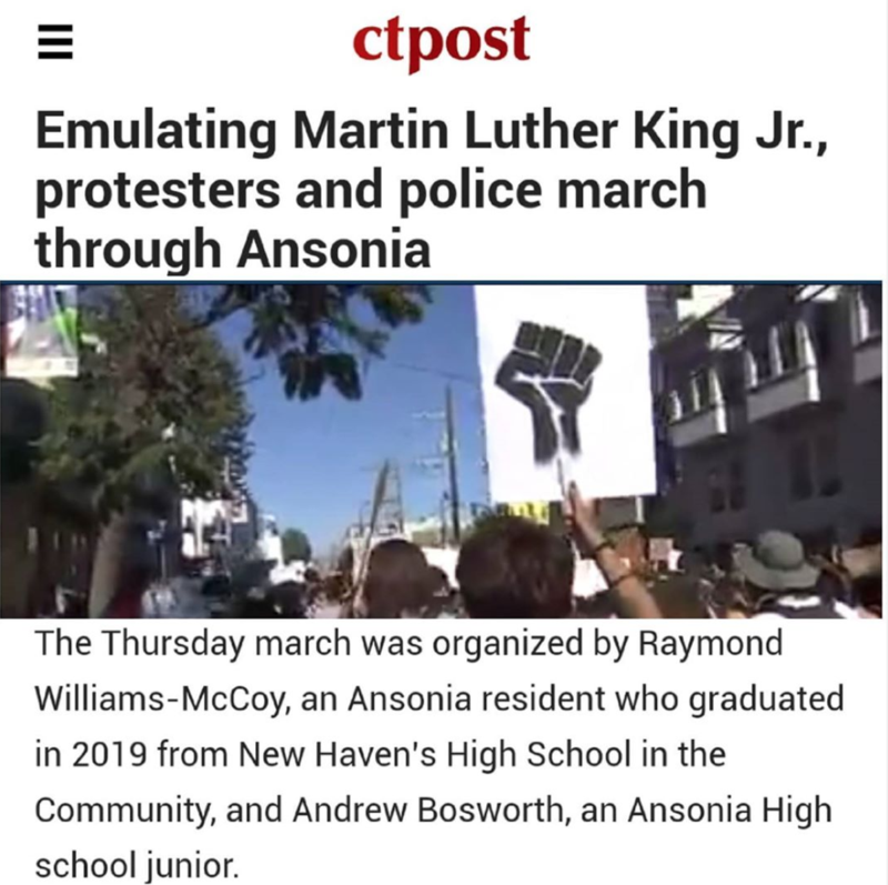 Screenshot of an article about a protest in Ansonia from the CT Post