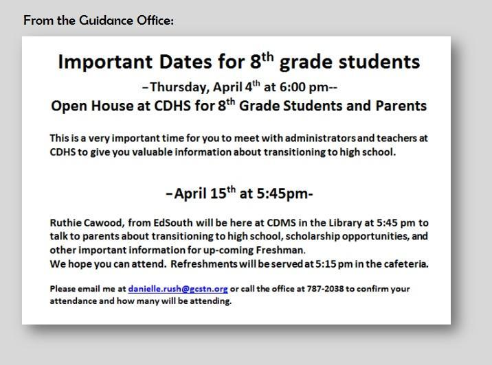 Important Dates for 8th Graders Featured Photo