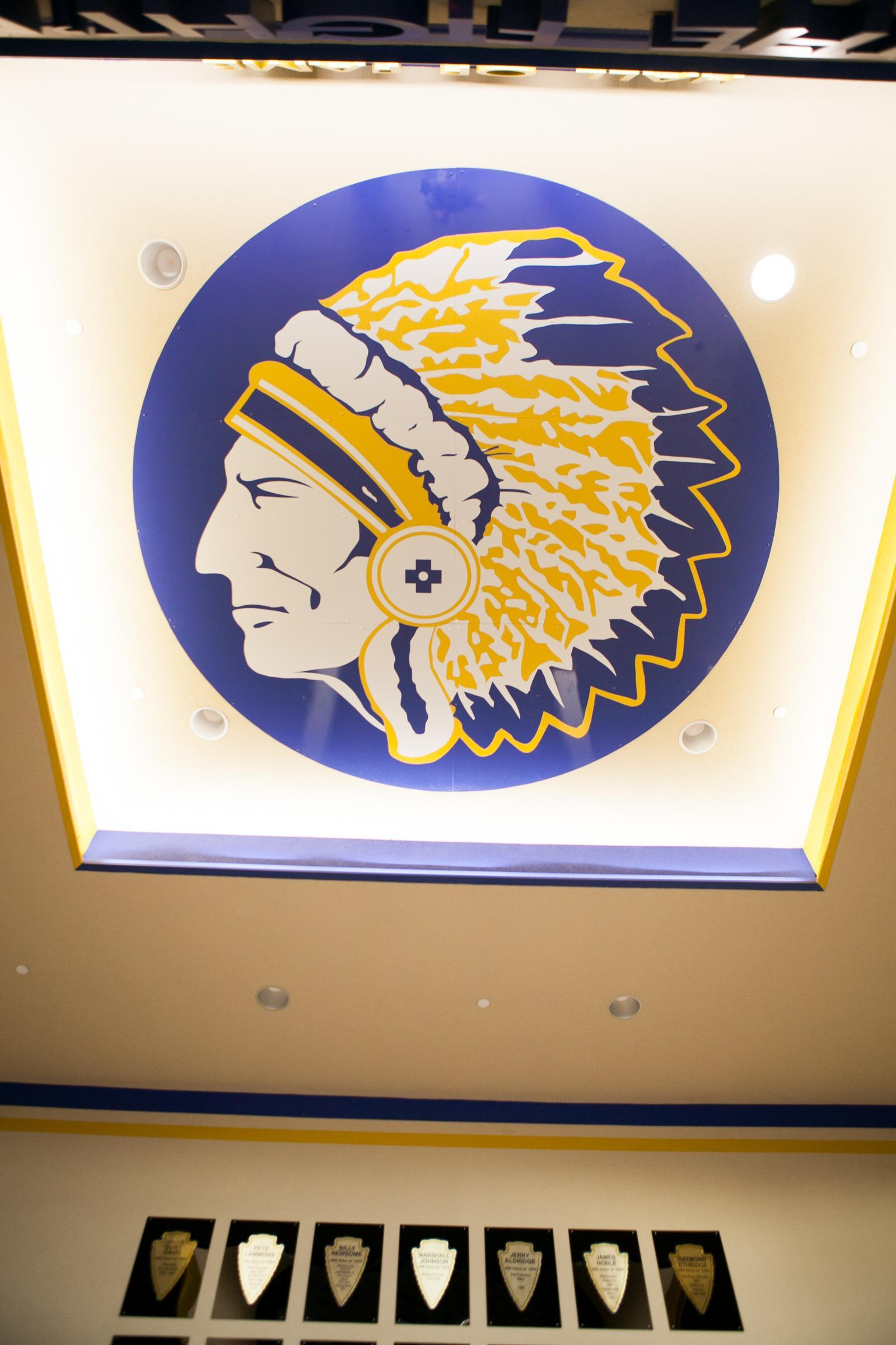 logo painted on ceiling in the entry