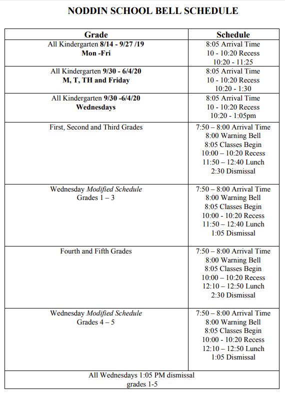 Noddin Bell Schedule