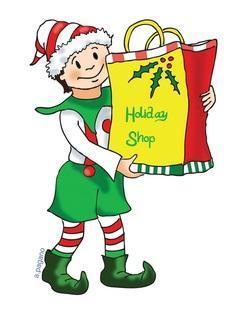 Cartoon elf holding shopping bag that reads