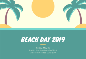 Palm tree and sun clip art. Beach day schedule.