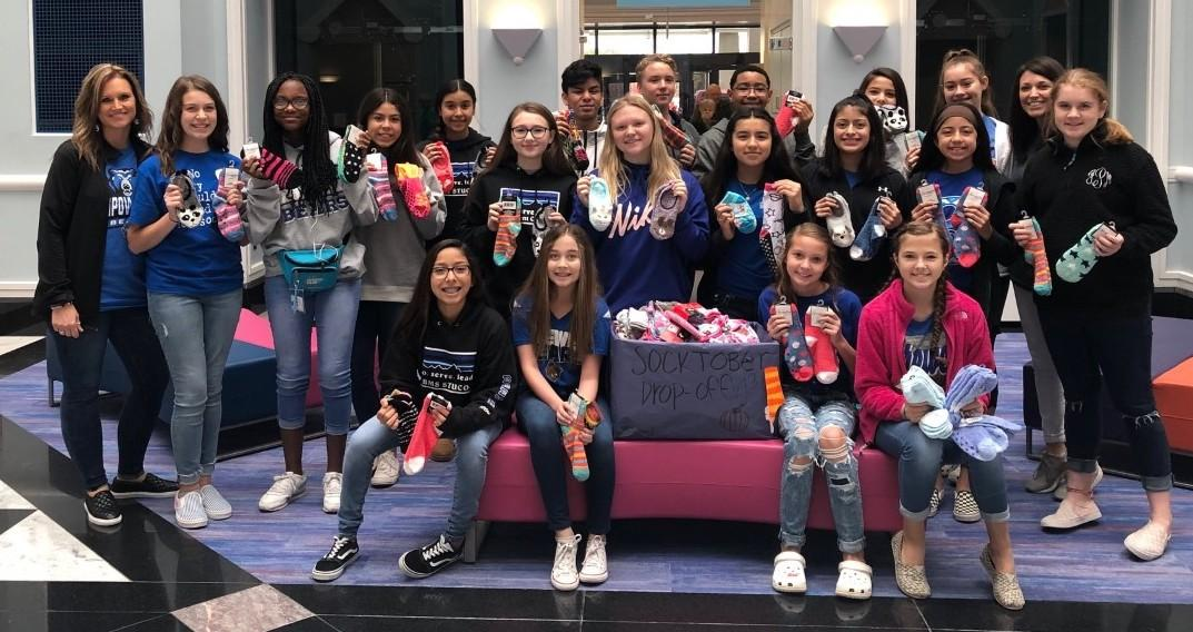 The Brewer Middle School Student Council collected 275 pairs of non-slip socks to benefit children at Cook Children's Hospital during its SOCKtober Sock Drive.