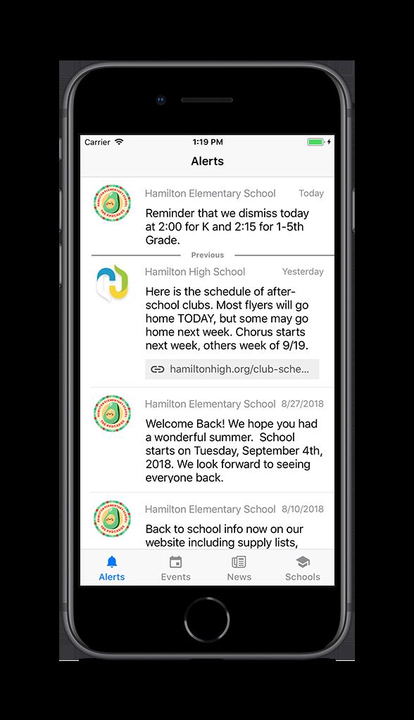 Alerts on School News app