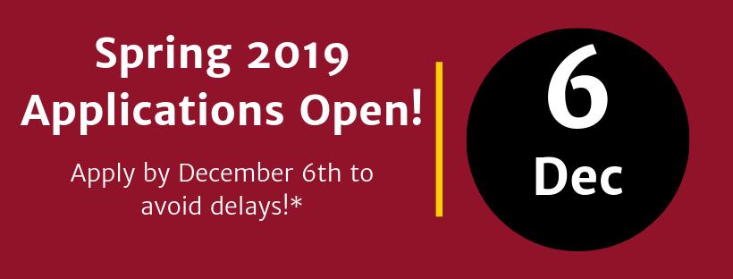 Spring 2019 Applications Open! Deadline December 6th.