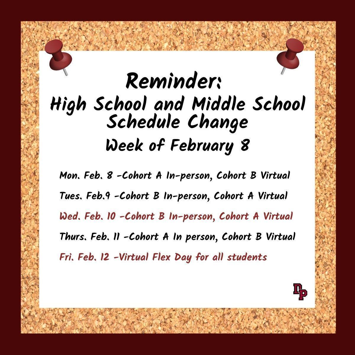 schedule week of Feb. 8