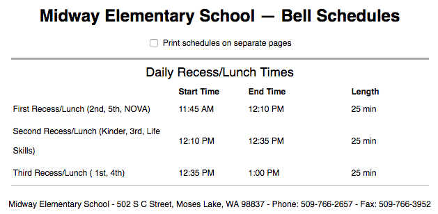 Midway Bell Schedule (Text version available on Midway website)
