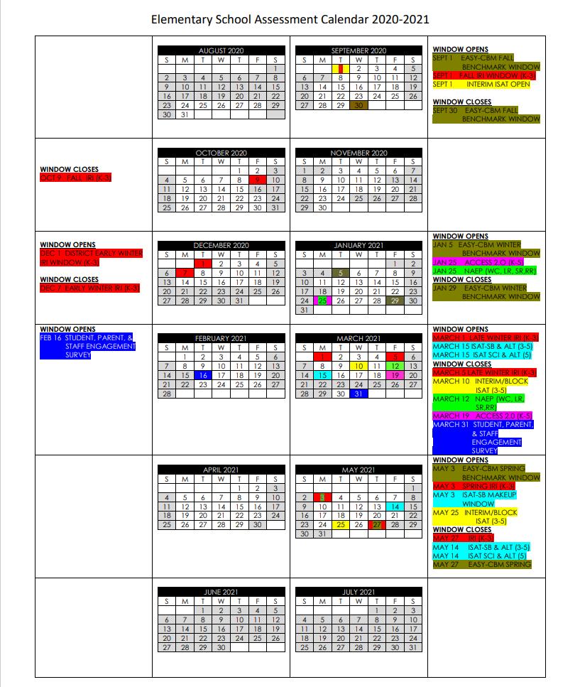 Elementary Assessment Calendar