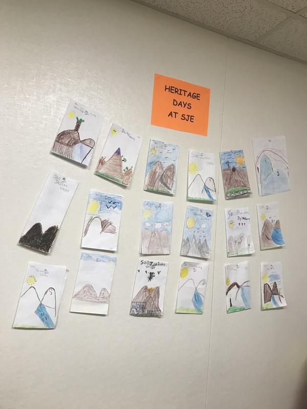 Heritage artwork by students at San Jacinto Elementary