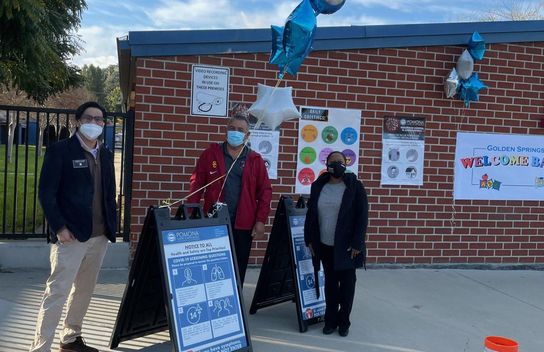 Golden Springs Cougars were warmly greeted by Principal Tamatha Damato, Board of Trustees President Andrew Wong, and Superintendent Richard Martinez. Shoutout to our Campus Supervisors for your heroic support. #proud2bepusd @goldenSprinPUSD