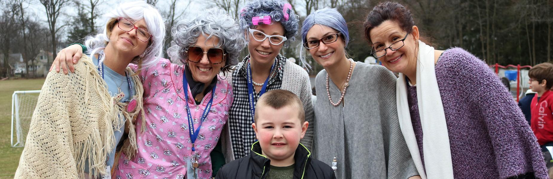 Photo of Tamaques 1st grade teachers dressed as elderly people on 100th Day of School.