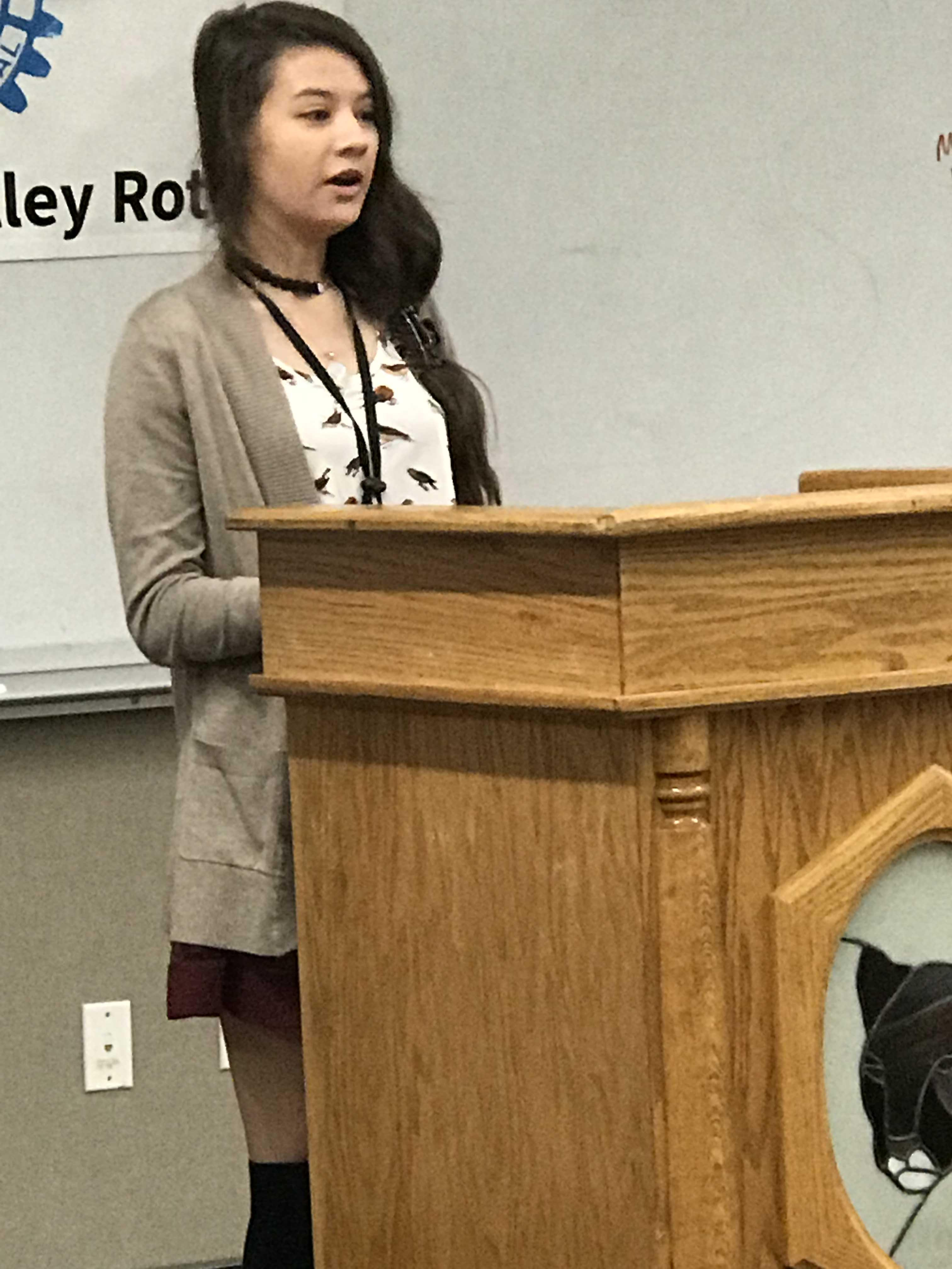Student giving speech at Rotary Speech Contest