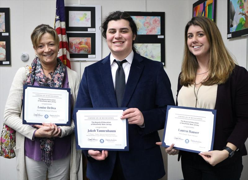 Photo of WHS senior Jake Tannenbaum with Westfield Municipal Alliance coordinator Louise DeDea and WHS Dream Team advisor Lauren Hauser.