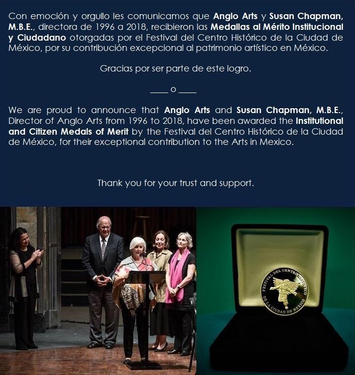 Anglo Arts was awarded the Medal of Merit by the Festival del Centro Histórico de la Ciudad de México Featured Photo
