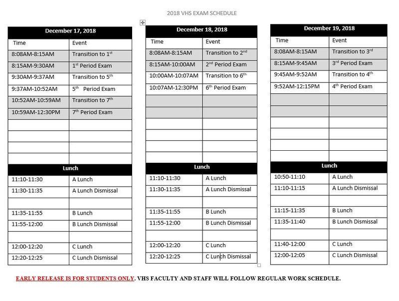 Final Exam Schedule 2018