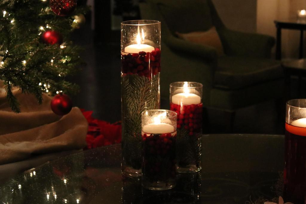 Pretty burning holiday candles