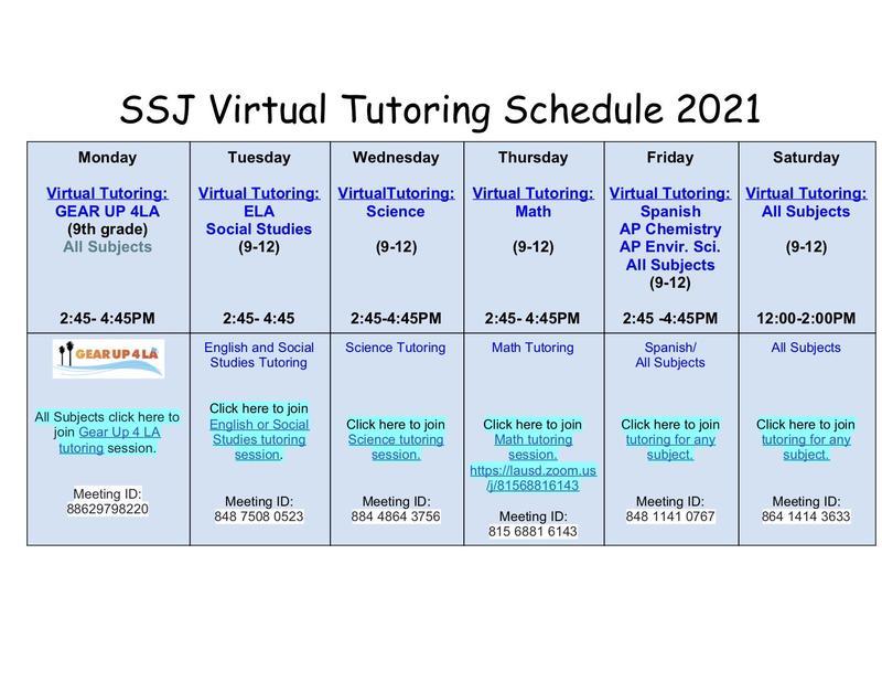 SSJ Virtual Tutoring Monday through Saturday! Thumbnail Image