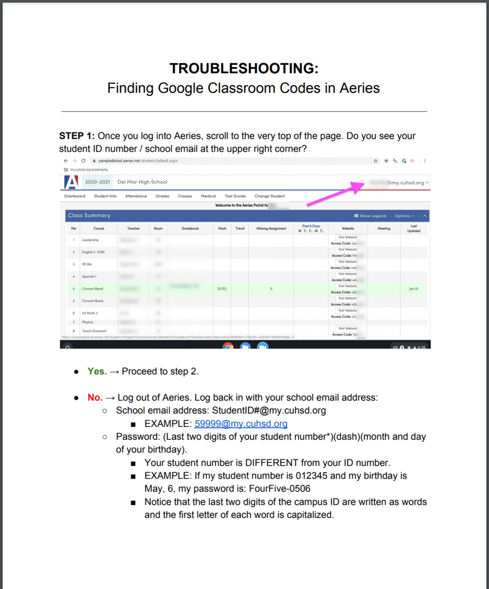 image of troubleshooting google class codes document1