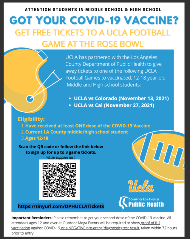 GOT YOUR COVID-19 VACCINE? GOT YOUR COVID-19 VACCINE? GET FREE TICKETS TO A UCLA FOOTBALL GAME AT THE ROSE BOWL Featured Photo