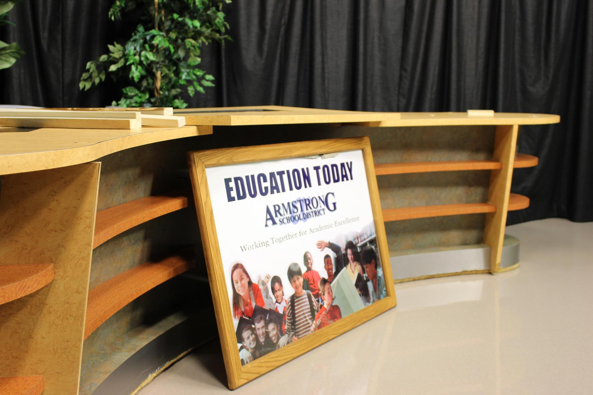 The news desk and set of Education Today