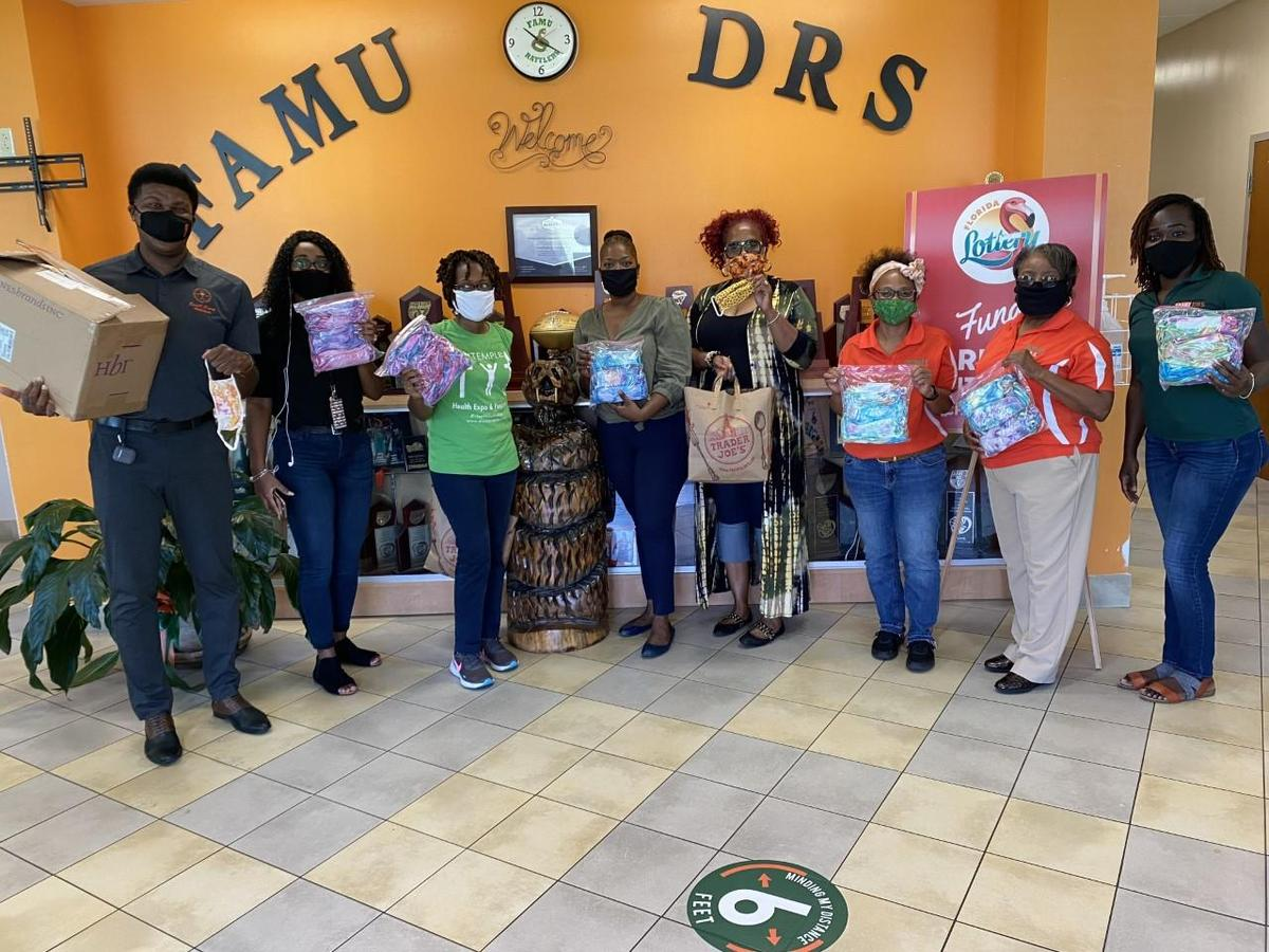 Thank you to Drs. Darice Richard, Adrienne Stephenson, Asha FIeld Brewer, close to 20 sponsors and countless of community members who collected and donated 1,200 tie-dye masks to our FAMU DRS staff and students. These awesome stakeholders collected and donated over 7,000 masks in the Leon county schools and community.