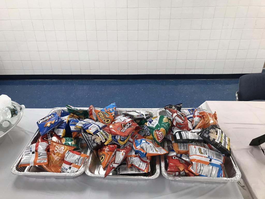 delicious snacks in a bin at the head table