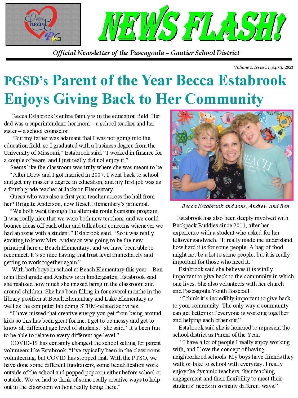 PGSD Parent of the Year Becca Estabrook
