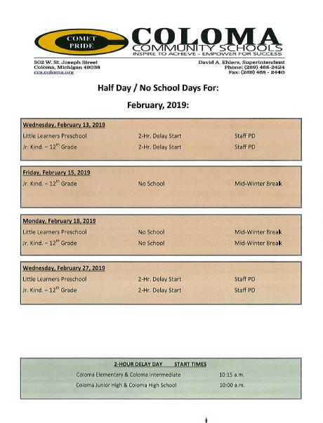 Calendar for February 2019