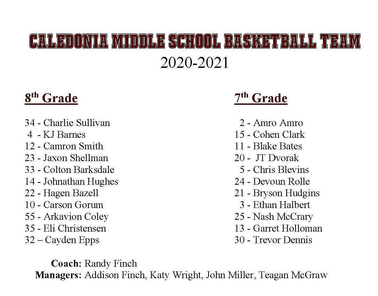 CMS Boys Basketball Roster