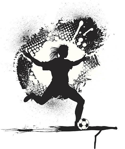 outline of female playing soccer