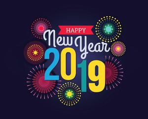 image of the words Happy New Year 2019 with fireworks
