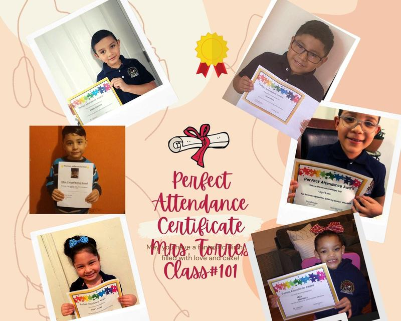 MP3 Perfect Attendance students in room 101 collage