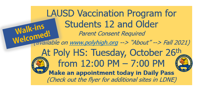 Vaccinations at Poly HS on Tuesday!  / ¡Vacunas en Poly HS el martes! Featured Photo