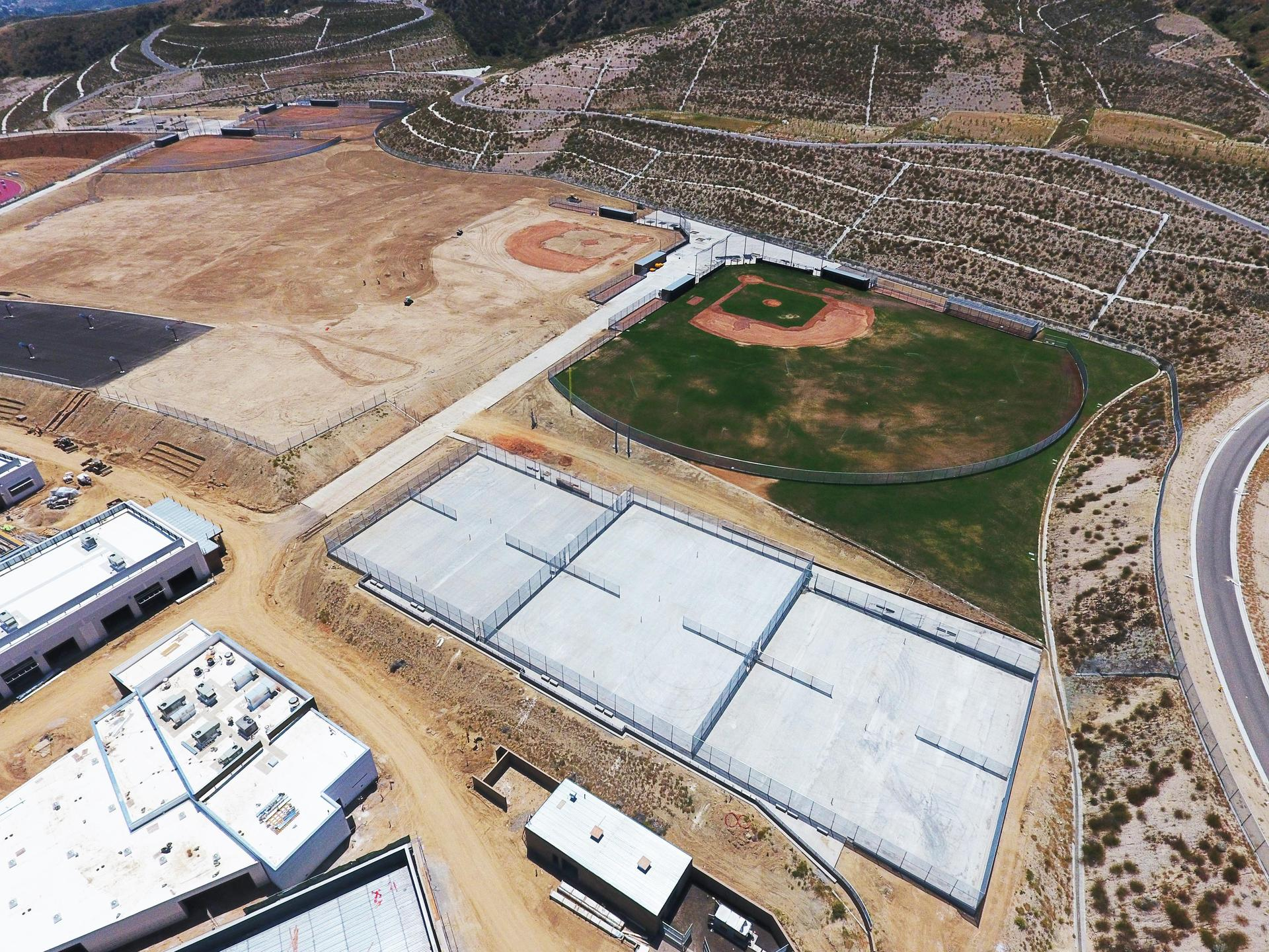 Aerial view of the Castaic High School baseball diamond and progress on other field sports practice areas