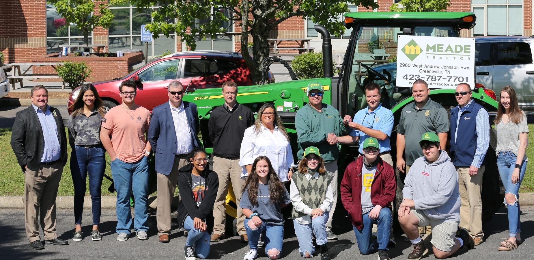 The John Deere Corporation through Meade Tractor of Greeneville provided the Chuckey-Doak FFA chapter with a new 5100 E Utility John Deere tractor. The partnership is to assist the agricultural program with their school farm and livestock facilities. The school will utilize the tractor for one full calendar year on a lease program. Meade tractor will also work with the Agricultural Mechanics program to provide training on equipment maintenance and safety. We our very grateful for Meade and John Deere's partnership to help bolster the agricultural/FFA program at Chuckey-Doak.