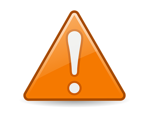 An orange information alert symbol in the shape of a triangle