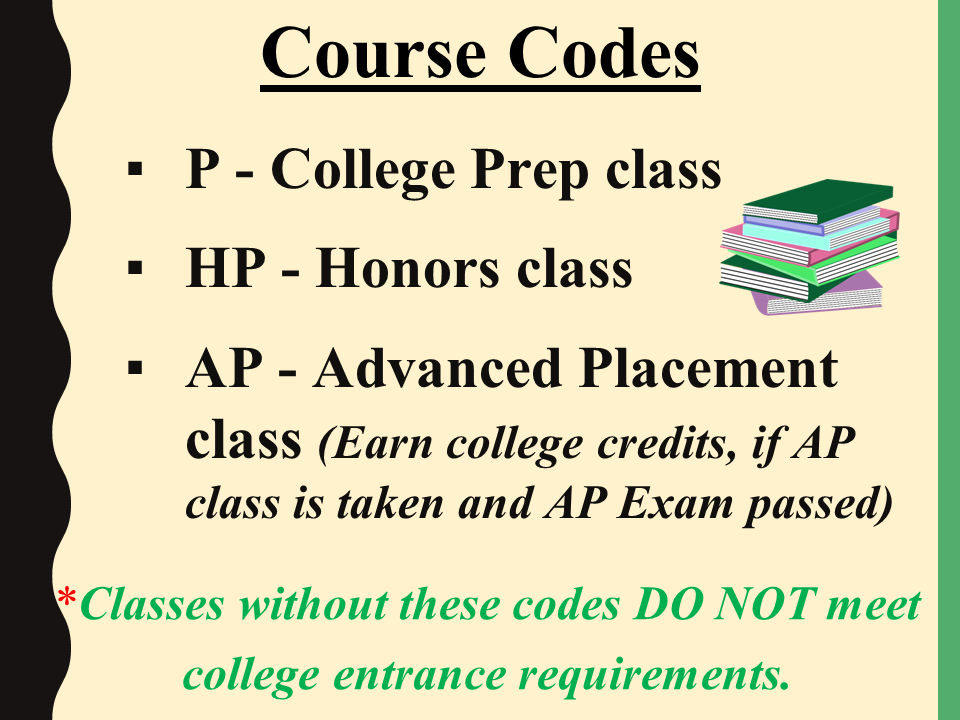 Course codes power point slide