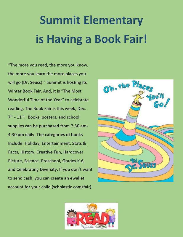 Book Fair at Summit Elementary Dec. 7-11