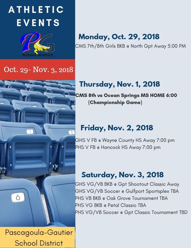 Athletic Events for Week of Oct. 29 - Nov. 3