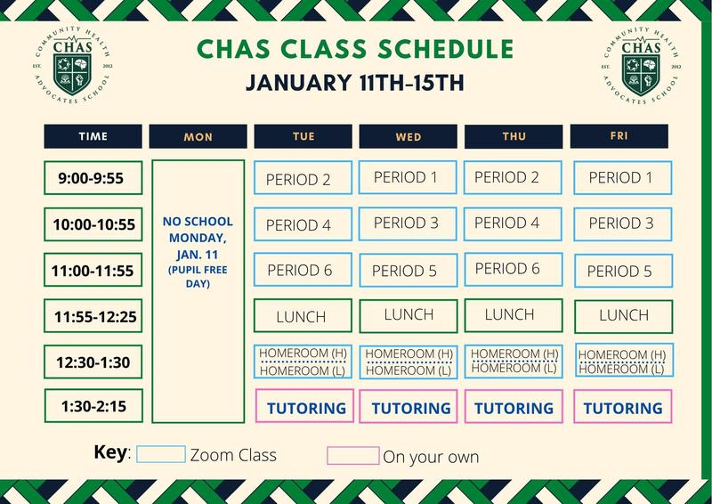 CHAS Class Schedule Week of January 11th / Horario de clases de CHAS Semana del 11 de enero Featured Photo