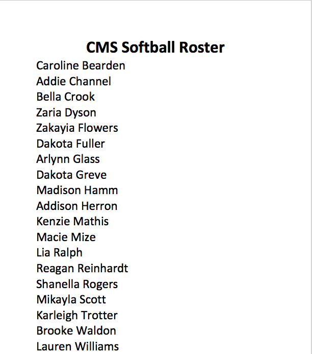 Softball Roster 2020