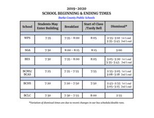 2019-2020 School Beginning & Ending Times