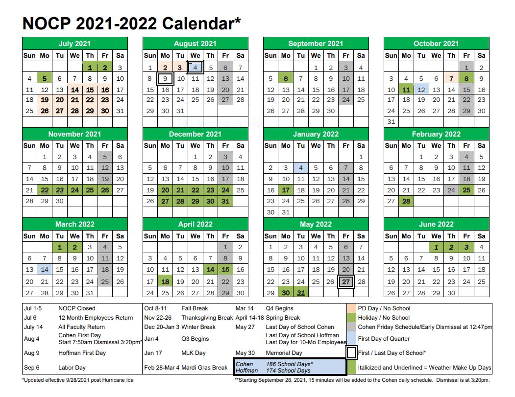 2021-22 School Year Calendar