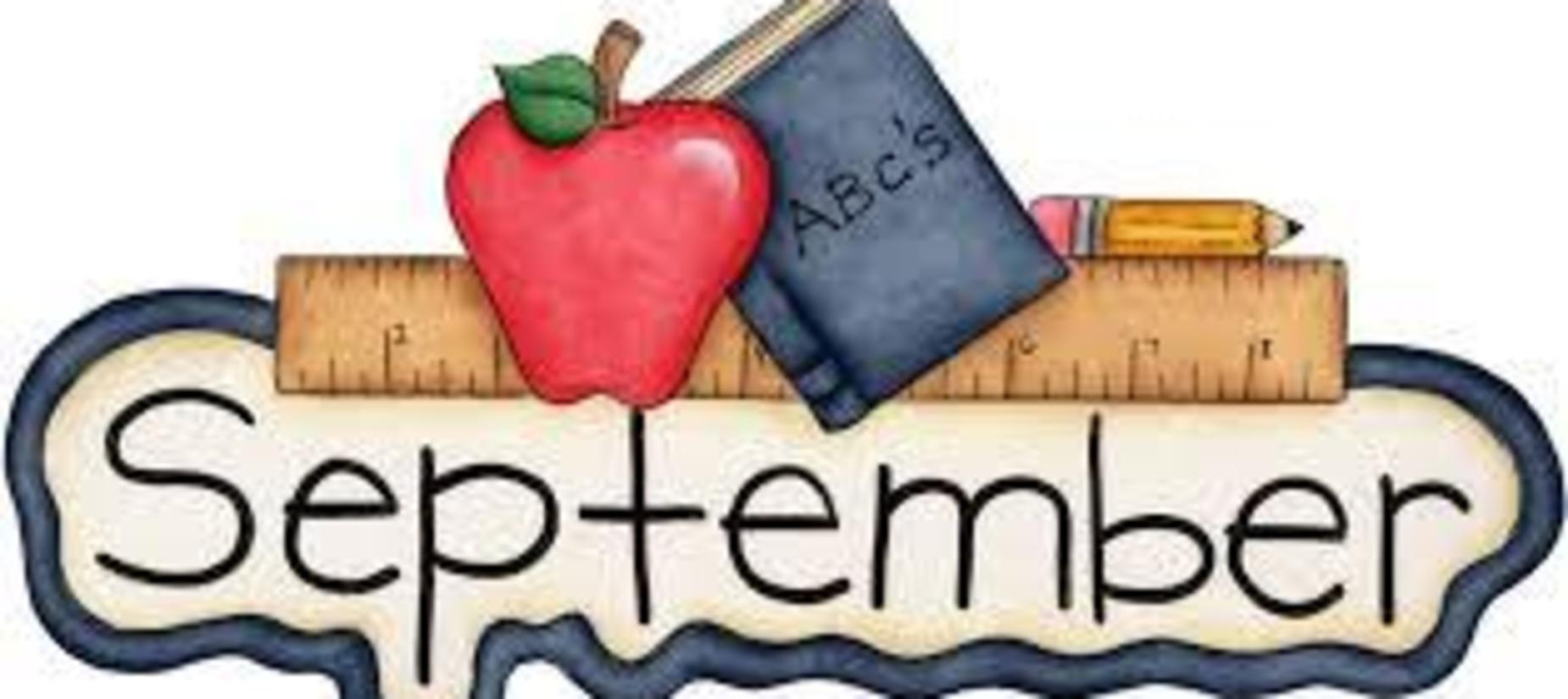 ruler, pencil, book and apple with the words September written out