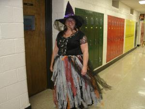 Mrs. Barnes dressed up in her costume.